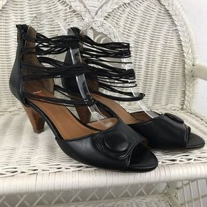 Miz Mooz | Wagner Strappy Black Heels Pumps Retro